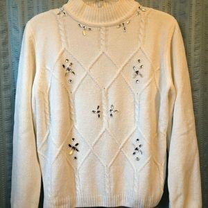Alfred Dunner Ivory Embellished Sweater Petite Med